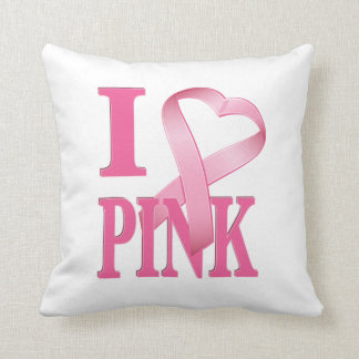 I Heart Pink Cancer Ribbon 2 Throw Pillow