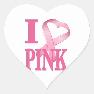 I Heart Pink Cancer Ribbon Heart Sticker