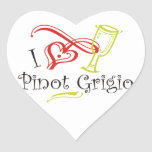 I Heart Pinot Grigio Heart Sticker