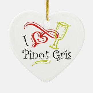 I Heart Pinot Gris Christmas Tree Ornament