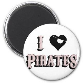 i heart pirates 2 inch round magnet