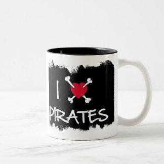 I Heart Pirates Crossbones Funny mug