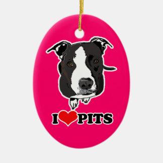 I HEART PITS PIT BULLS - 2 SIDED ORNAMENT