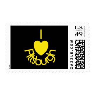 I Heart Pittsburgh Black 'n Gold Postage Stamp