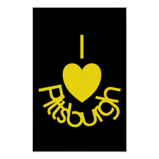 I Heart Pittsburgh Poster - Black 'n Gold