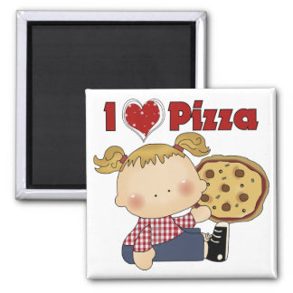 I Heart Pizza 2 Inch Square Magnet