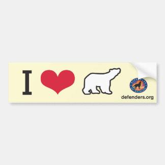 I Heart Polar Bears Car Bumper Sticker