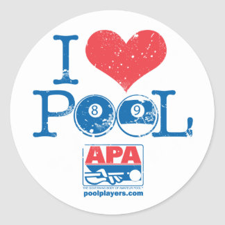 I Heart Pool Classic Round Sticker