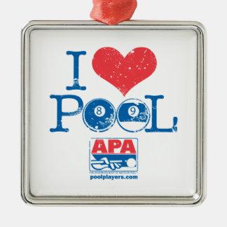 I Heart Pool Metal Ornament