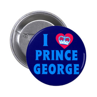 I HEART PRINCE GEORGE with Heart and Crown 2 Inch Round Button