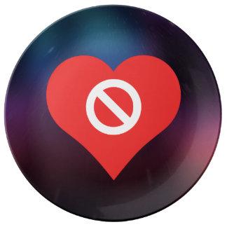 I Heart Prohibiting Icon Porcelain Plates