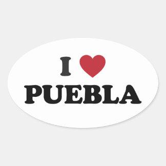I Heart Puebla Mexico Oval Sticker