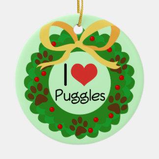 I Heart Puggles Christmas Gift Idea Ceramic Ornament