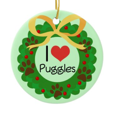 Valentines Themed I Heart Puggles Christmas Gift Idea Ceramic Ornament