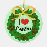 I Heart Puggles Christmas Gift Idea Christmas Ornaments