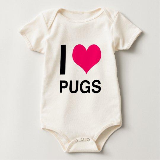 I Heart Pugs Baby Bodysuit