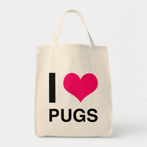 I Heart Pugs Canvas Bags