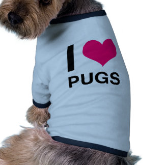 I Heart Pugs Dog Tshirt