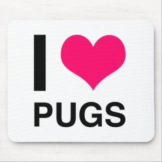 I Heart Pugs Mousepads