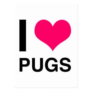 I Heart Pugs Postcard