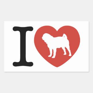 I Heart Pugs Rectangular Stickers