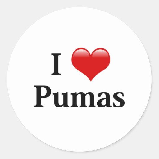 I Heart Pumas Classic Round Sticker