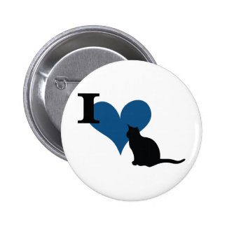 I Heart Pussy Cat 2 Inch Round Button