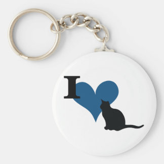 I Heart Pussy Cat Basic Round Button Keychain