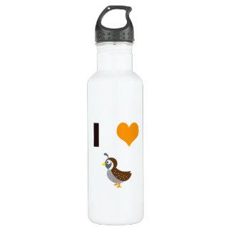 I heart quail water bottle