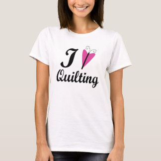 I Heart Quilting Pink Butterfly T-Shirt