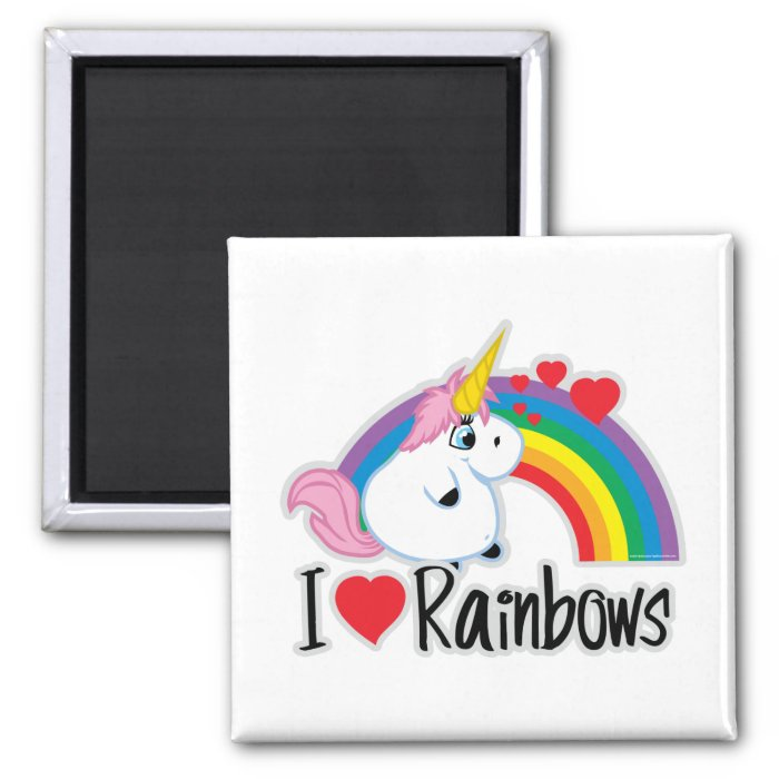I Heart Rainbows 2 Inch Square Magnet