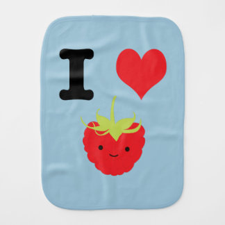 I Heart Rasberries Burp Cloth