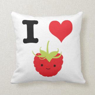 I Heart Raspberry Throw Pillow