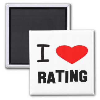 I Heart rating 2 Inch Square Magnet