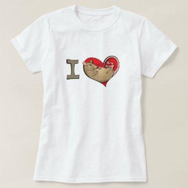 Valentines Themed I heart rats (tan) T-Shirt