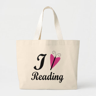 I Heart Reading Pink Butterfly Jumbo Tote Bag