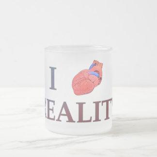 I Heart Reality 10 Oz Frosted Glass Coffee Mug
