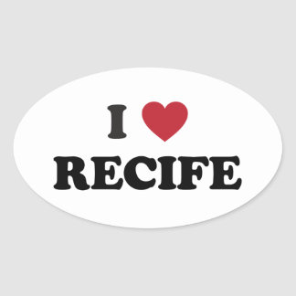 I Heart Recife Brazil Oval Sticker