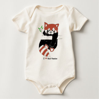 I Heart Red Pandas Baby Bodysuit