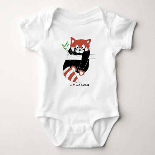 I Heart Red Pandas Baby Bodysuit