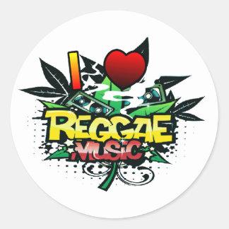 I Heart Reggae Music Classic Round Sticker