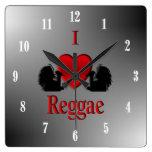 I Heart Reggae Square Wallclocks