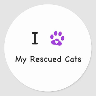 I Heart Rescued Cats Classic Round Sticker