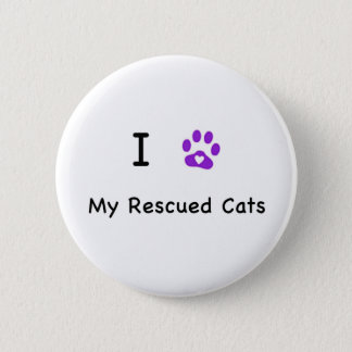 I Heart Rescued Cats Pinback Button