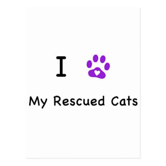 I Heart Rescued Cats Postcard