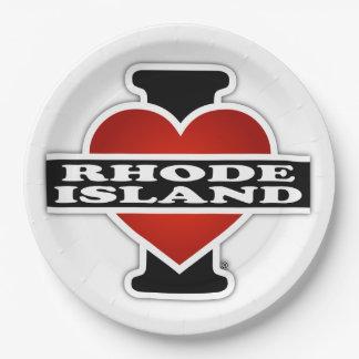 I Heart Rhode Island Paper Plate