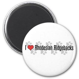 I (heart) Rhodesian Ridgebacks 2 Inch Round Magnet