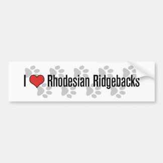 I heart Rhodesian Ridgebacks Bumper Stickers