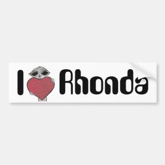 I Heart Rhonda Alien Bumper Sticker