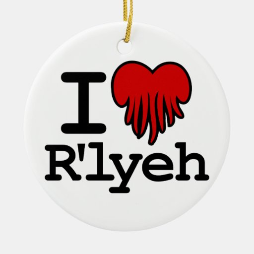 I Heart R'lyeh Double-Sided Ceramic Round Christmas Ornament